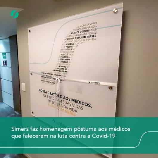 Simers faz homenagem póstuma aos médicos que faleceram na luta contra a Covid-19